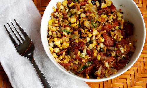 Warm Corn and Bacon Salad